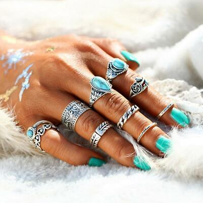 Knuckle Rings Summer Beach Jewelry Boho Womens Ring Turquoise Retro Gift BL3