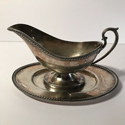 Vintage Berkeley Epns 2159 Silver Gravy Boat With Fitted Base