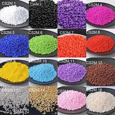 1000pc 16g 2mm Solid Color Round Loose Czech Glass Seed Beads DIY Jewelry Making
