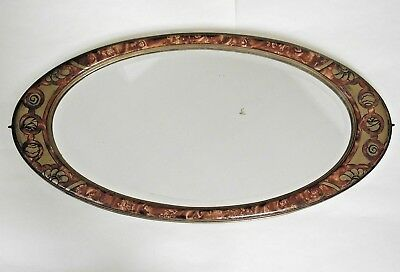 Detailed French Antique Art Nouveau Bevelled Glass Oval Decorative Mirror 1033