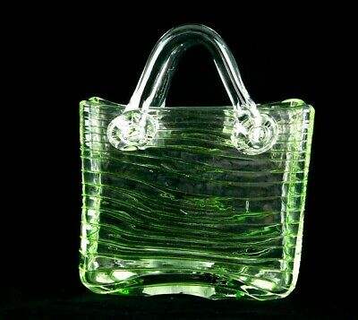 Lime Green Swirl Art Glass Basket Tote Hand Blown Vase with Handles Vintage