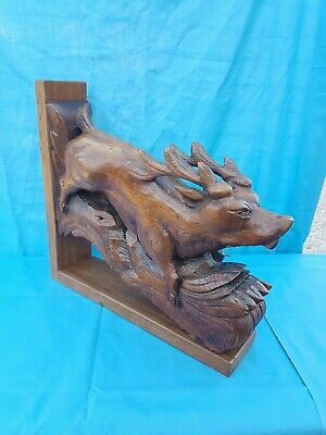 Antique French: Black Forest/Corbels/Statues solid oak,19th, Carved Hunting deer