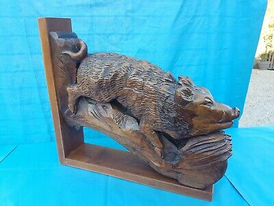 Antique French: Black Forest/Corbels/Statues solid oak,19th,  Hunting wild boar