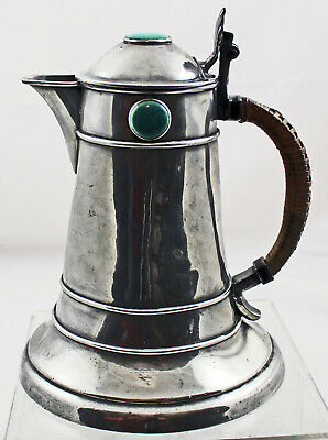 ART NOUVEAU ENGLISH PEWTER TANKARD / PITCHER with Ruskin Stones