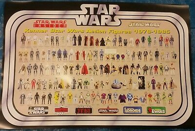 Star Wars Vintage Action Toy Checklist Reference Poster 131 Figures 1978-85