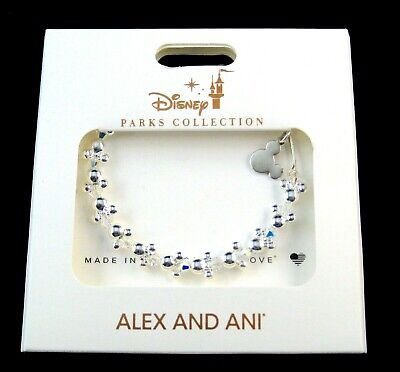 Alex & Ani Disney Bracelet✿ Mickey Mouse Minnie Icon Beaded Crystals Silver