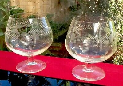 2 Vintage Cut Crystal Balloon Glasses Gin Cocktails Brandy Baileys Hand Crafted