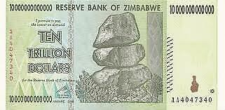 Zimbabwe 10 Trillion Dollars X 1 AA/2008 P-89, UNC, 50 & 100 Trillion Series
