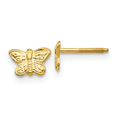 ea47a65d8 Ladies 14K Yellow Gold Butterfly Insect Animal Screw Back Stud Earrings -  5mm