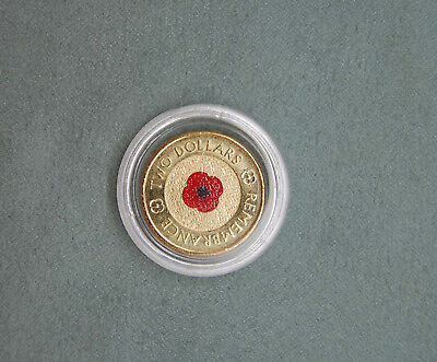 2012 $2 coin  RED POPPY REMEMBRANCE in capsule Uncirculated