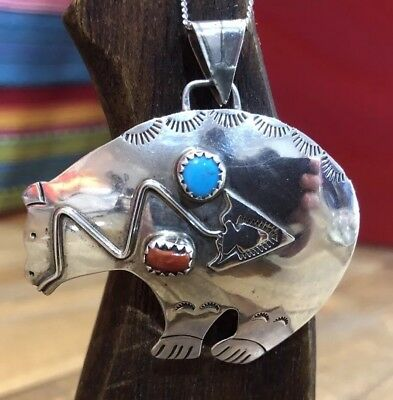 Signed Native American Sterling Silver Coral Turquoise Huge Spirit Bear Pendant