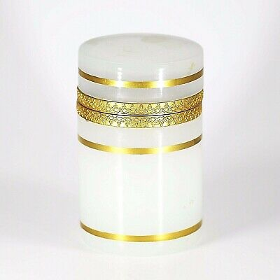 Vintage French trinket or jewelry BOX opaline glass w/ gold bands and hinged lid