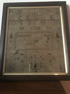 ANTIQUE GEORGE III SAMPLER DATED 1794 HANNAH BARRATT Aged 13,BEAUTIFUL DETAIL