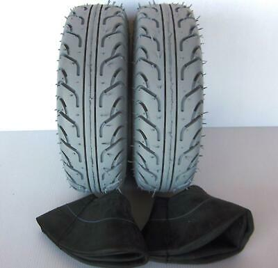 2 Mobility Scooter Tyres & 2 Tubes 260 x 85 (3.00 - 4)  Grey Tires. FREEPOST