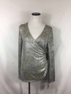 Trouve Womens Size Small Metallic Silver Foil Long Sleeve Faux Wrap Top Ruched
