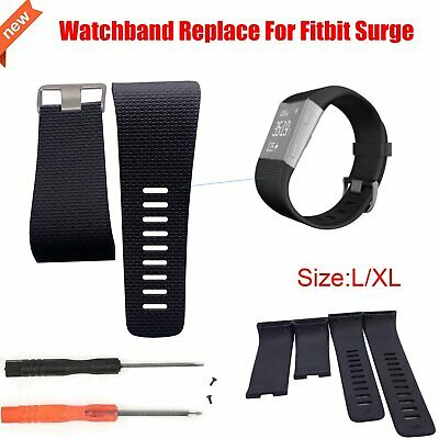 Silicone Wristband Replacement Band Strap For Fitbit Surge Fitness W/ Tools L/XL