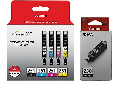 Canon Genuine 5-PACK PGI-250 Black & B/CLI-251 Color Ink MX922