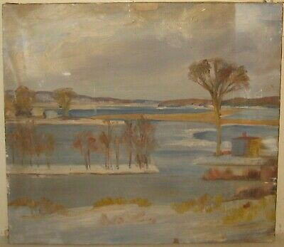 Vintage 1920s OLD LYME Schl Modernist PLEIN AIR CT Winter Landscape Oil PAINTING