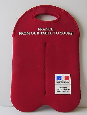 BUILT NY Red Neoprene Blend Double Bottle Wine Carrier 'France: From Our Table.'
