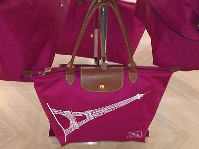 LONGCHAMP Bag LE PLIAGE EIFFEL TOWER Limited DAHLIA Large bag Long Handle  PARIS 98fcc93c045d8