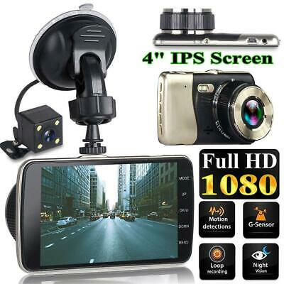 4'' HD 1080P Dual Lens Car DVR Dash Cam Video Recorder Front and Rear Camera LCD