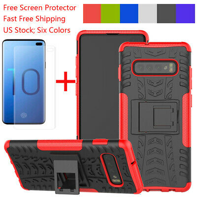 For Samsung Galaxy S10 Plus S10e Case With Ring Holder Stand+Screen Protector