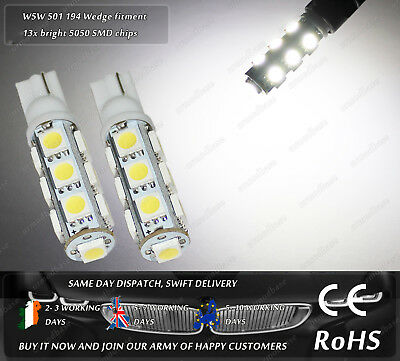 W5W T10 Wedge 501 Xenon White LED SMD Side Lights Parking Bulbs Sidelights 12v