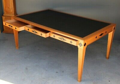 Antique empire writing table desk inlaid Huon pine big Art Deco conference table