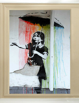 Banksy Art Painting Original print Graffiti Street poster Wall Decor Canvas Rain