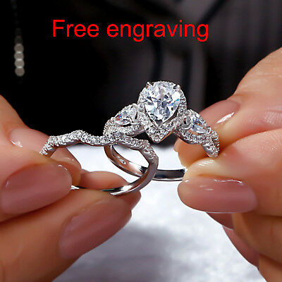 2 00 Ct Pear Cut Diamond Bridal Band Set Engagement Ring Solid 10k