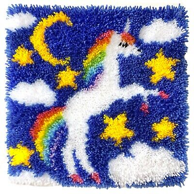 DIY Latch Hook Kit Craft Needlecrafts Gift about 16''*16'' Rug Cute Unicorn