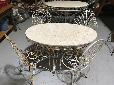 Vintage French wrought iron and marble garden table and chairs.#2343b