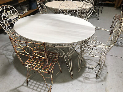 Vintage French wrought iron and marble garden table and chairs.#2343c