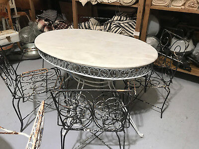 Vintage French wrought iron and marble garden table and chairs.#2343a