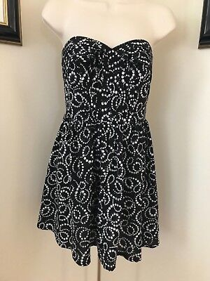 f7af7d7f05c7 Marilyn Monroe Womens Junior Girls Black White Pearl Strapless Party Dress  SZ XS
