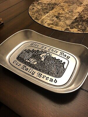 "Vintage RWP Wilton ""Give Us This Day Our Daily Bread"" Pewter Bread Tray Dish"