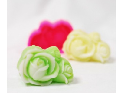 Three  Rose No. 2 Silicone soap Mould plaster Mold