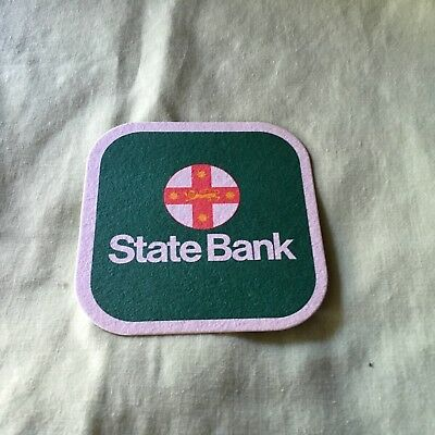 """Collectable drink coaster -""""STATE BANK""""  NEW PRISTINE CONDITION"""