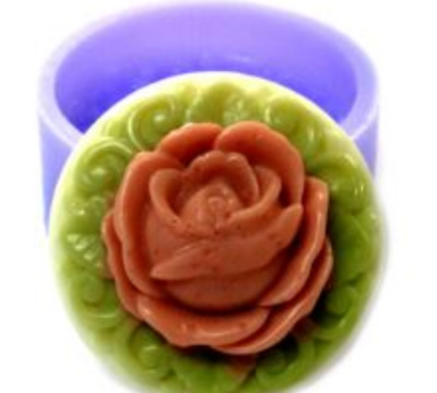 Single Round rose No. 2 Silicone soap Mould plaster Mold