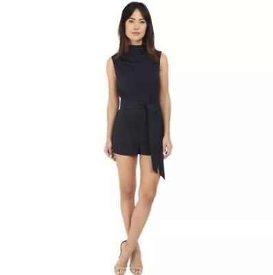 8e3c574229c3 NWT Sz L Keepsake The Label Essence Playsuit Navy Blue Romper Tie Belt MSRP   160