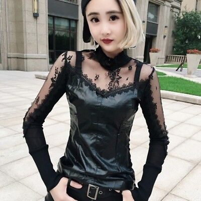 Punk Rock Sexy Women Lace Faux Leather Top Blouses Party Stretch Casual T Shirt