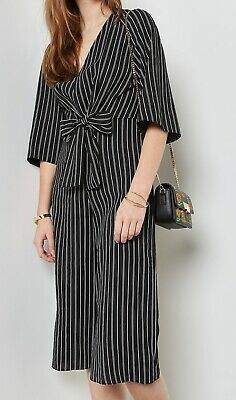 cc94d5ec36ac Miss Selfridge NEW Black Womens Size 8 Striped Tie-Waist Jumpsuit  78 972