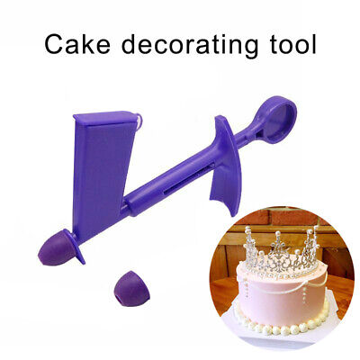 1x Plastic Pearl Applicator Tool + 2x Nozzle Tips For Fondant Cake Sugarcraft