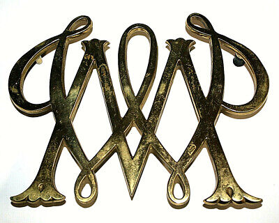 """Vintage Cypher William & Mary College Brass Trivet Colonial Williamsburg 6"""" x 8"""""""