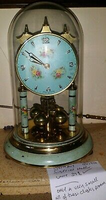 Very, rare Sigfried Haller 400 day dome clock, blue floral, new suspension unit