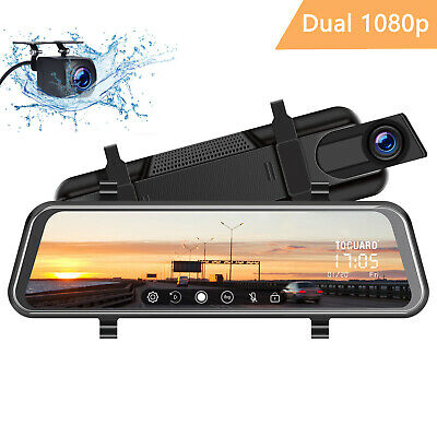 "TOGUARD 8"" Mirror Dash Cam 1080P Dual Lens Touchscreen Front and Rear Car Camera"