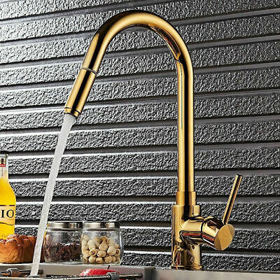 High-Arc Single Handle Hole Solid Brass Pull-out Sprayer Kitchen Faucet Tap Gold