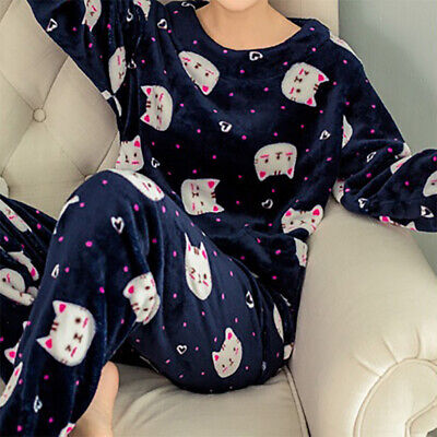 Femme Ensemble Pyjamas Cartoon Animal Vêtement Pantalon Flanelle Hiver Mode Neuf
