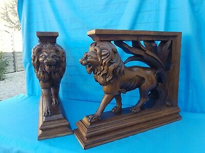 Antique French: 2 corbels/pedestals/statues in solid oak, 19th, carved /Lions