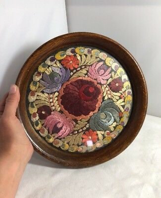 Vintage 1930s Round Wooden Tray Hand Embroidered Centre Floral Design